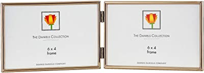 Dennis Daniels Hinged Double Horizontal Narrow Channeled Picture Frame, 4 x 6 Inches, Brass