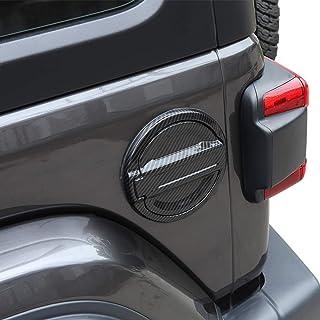JeCar Fuel Filler Door Aluminum Gas Cap Cover Exterior Accessories for Jeep Wrangler 2018 2019 2020 JL JLU, Carbon Fiber Texture