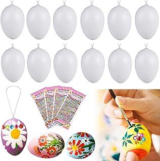 Nabance Oeufs de Pâques Decoration, 50 Oeufs de Pâques Oeufs de Pâques à Peindre Oeufs de Pâques Suspendus à Une Corde, av...