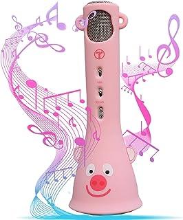 Tosingカラオケマイク 子供のマイク おもちゃ 誕生日プレゼン 女の子 人気 高音質カラオケ機器 Bluetoothで簡単に接続 無線マイク 一人でカラオケ Android/iPhoneに対応 日本語説明書付き(5歳~12歳適用 ピンク)