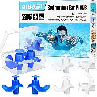 Swimming Ear Plugs, 2021 Upgraded 4 Pairs AiBast...