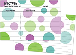 Home Advantage 4x6 Double Sided Colorful Blue Green Purple Circles Recipe Cards, Set of 50