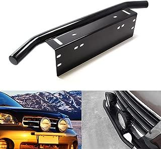 AUXMART Front License Plate Mounting Bracket Holder Bull Bar Style Holder for Off-Road Lights Fog Lights (Black, Universal Fit)
