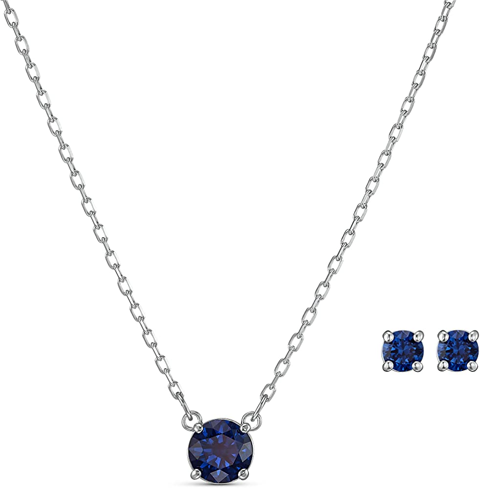 Swarovski set attract round, placcatura rodio collana + orecchini 5536554