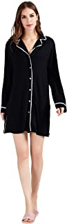 Women Modal Sleepshirt Button Down Nightgown Lace Sleepwear Pajama Slip Night Dress