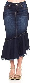 Go Modest Women's Casual Denim A-Line Ruffled Midi Skirt, Tznius Knee Length