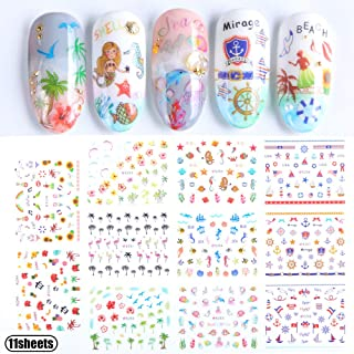 Nail Art Stickers Accessories for Girls Beach Mermaid Decorative Nail Decals for Women Summer Series Sea Animal Seagull Flag 3D Nail Sticker Wraps for Kids Fingernails & Toenails Decoration Manicure