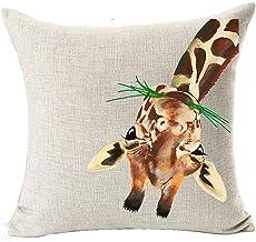 Andreannie Nordic Simple Watercolor Animal Adorable Giraffe Eating Grass Grazing Cotton Linen Throw Pillow Case Cushion Co...