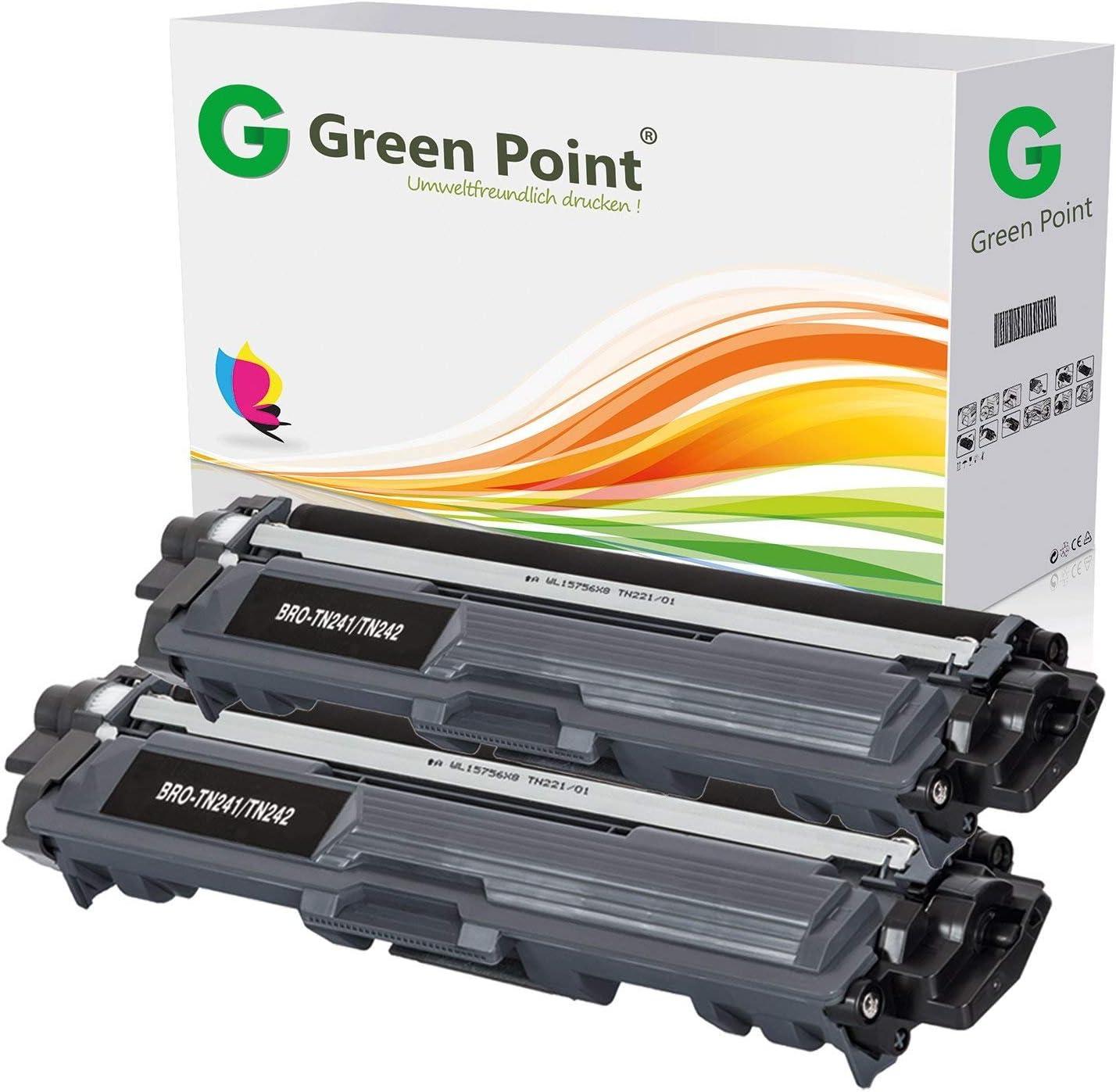 2 Greenpoint Toner Kompatibel Zu Brother Tn 241bk Tn 245bk Hl 3150 3170 Cw Cdw Dcp 9022 Mfc 9342 9142 9332 Cdn Cdw Schwarz Je 2 500 Seiten Bürobedarf Schreibwaren