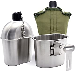 TargetEvo Stainless Steel Military Canteen 1QT Portable with 0.5QT Cup Green Cover Camping Hiking G.I.