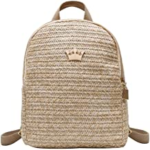 GERWADS Straw Woven Travel Backpacks Women Shoulder Schoolbags Crown Decor Knapsack
