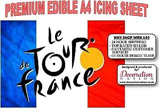 Decoración comestible para tarta con el logotipo y la bandera de Tour De France tamaño A4