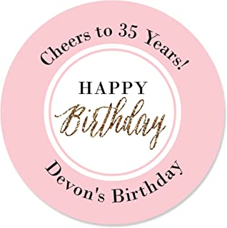Big Dot of Happiness Custom Chic Happy Birthday - Pink and Gold - Personalized Birthday Party Circle Sticker Labels - 24 Count