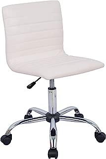 AmazonBasics Modern Adjustable Low Back Armless Ribbed Task Chair, White