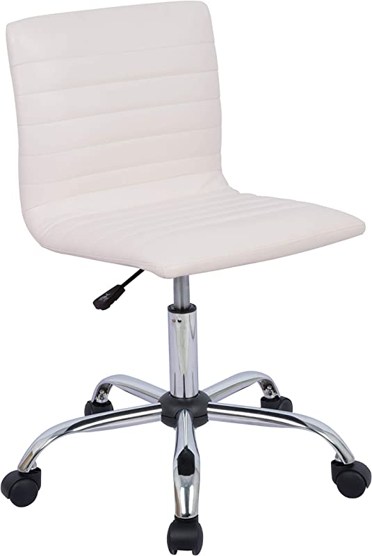 AmazonBasics Modern Adjustable Low Back Armless Ribbed Task Chair White