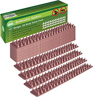 Defender Spikes, Cat and Bird Repellent [Protect Your Property] Outdoor Fence Security Control to Keep Off Roosting Pigeons and More Out. Plastic Deterrent Anti Theft Climb Strips - 20pk [20 Foot]
