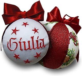 Crociedelizie, pallina di Natale personalizzata 8 cm nome ricamato decorazione natalizia personalizzabile in lurex rosso e...