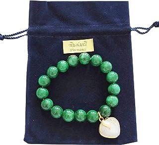 Heavens Tvcz Bracelet Jade Green Heart White Love for Women Men Charms Jade Real Carved Beautiful Handmade Stone Jadeite B...