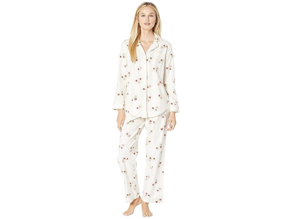 LAUREN Ralph Lauren Brushed Twill Long Sleeve Classic Notch Collar Pajama Set (Ivory Floral) Women