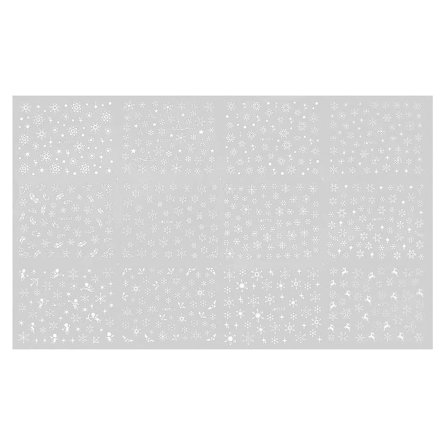 料理ハング苦いFrcolor ネイルシール 3D ネイルステッカー 雪花 ネイルホイル デザイン ネイルアートシール スノーフレーク 貼るだけ
