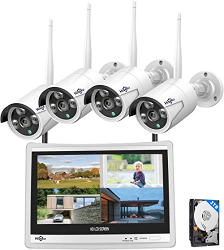 """[8CH Expandable] Hiseeu All in one with 12"""" LCD Monitor Wireless Security Camera System, Home Business 8CH 1080P NVR ..."""