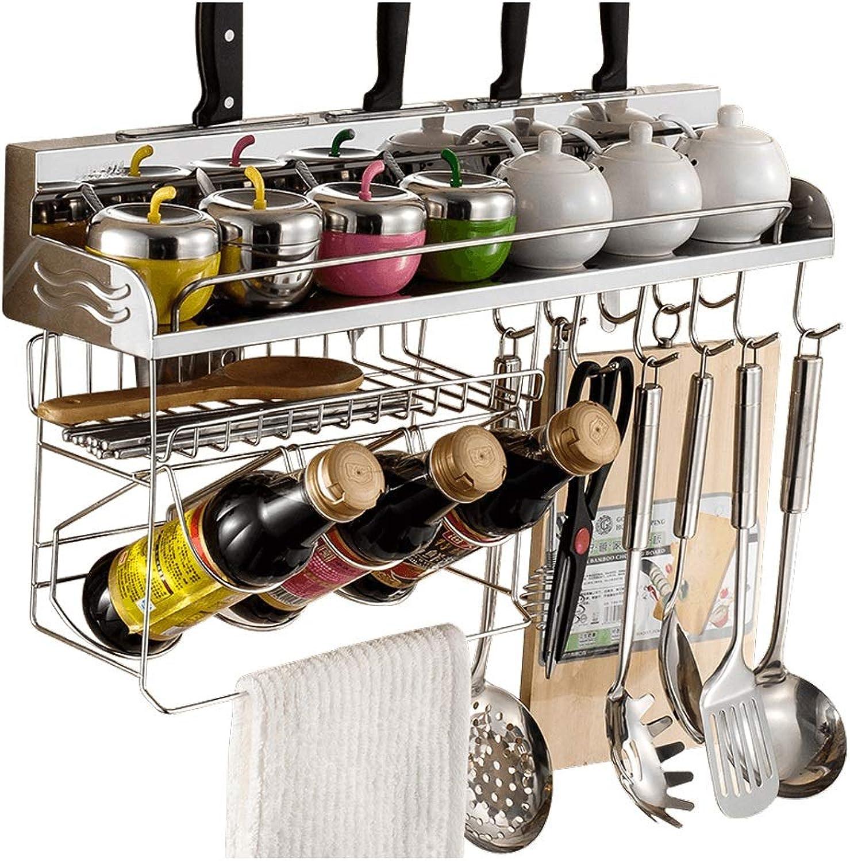 GX 304 Stainless Steel Kitchen Shelf, Wall-Mounted Seasoning Rack Knife Holder (Size   50cm(19.68 ))