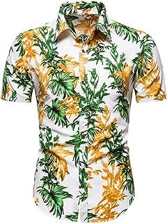 Imprimir Marca Summer Men s Beach Shirt Moda Manga Corta Floral Loose Casual Shirts PlAsian Size 3XL Hawaiian-White_XXXL