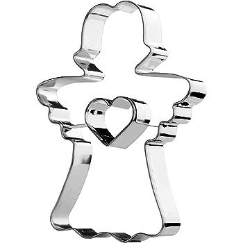 KADAX Ausstechformen aus Edelstahl, Keksausstecher für backen, Kekse, Lebkuchen, Weihnachten, Tortendekorationen, Plätzchenformen, Plätzchen Ausstecher, Verschiedene Formen (Engel)