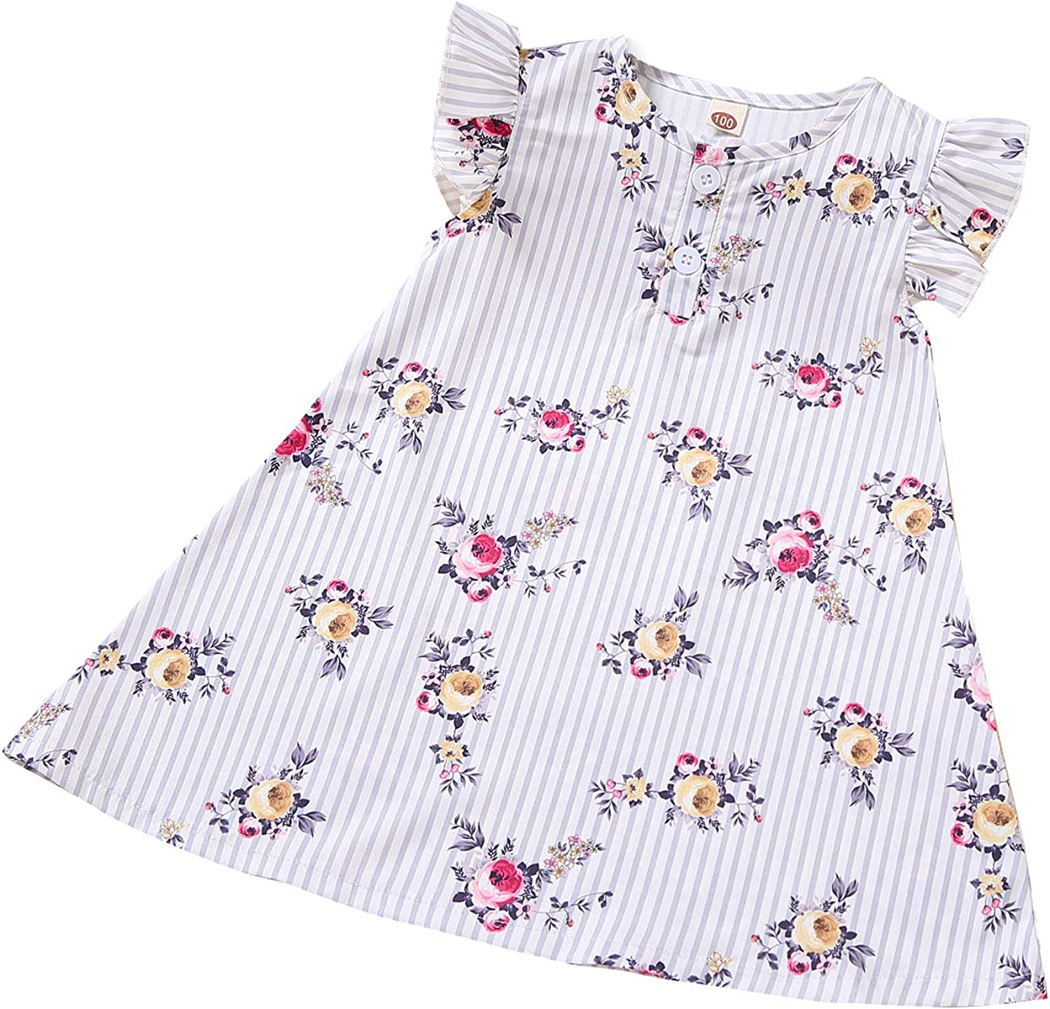 Toddler Baby Girl Kids Dress Ruffle Sleeve Stripe Floral Summer Dresses Baby girl Clothes 2 - 6Years