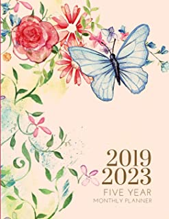 2019-2023 Five Year Planner Butterfly Monthly Organizer With Bible Sermon Note: 60 Months Calendar; Agenda Appointment Diary; Mindfulness Journal With Address Book, Julian Dates & Inspirational Quotes