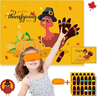 Funnlot Thanksgiving Party Games for Kids Thanksgiving Games Pin The Tail on The Turkey Thanksgiving Party Decor Thanksgiving Games and Activities Thanksgiving Pin The Tail