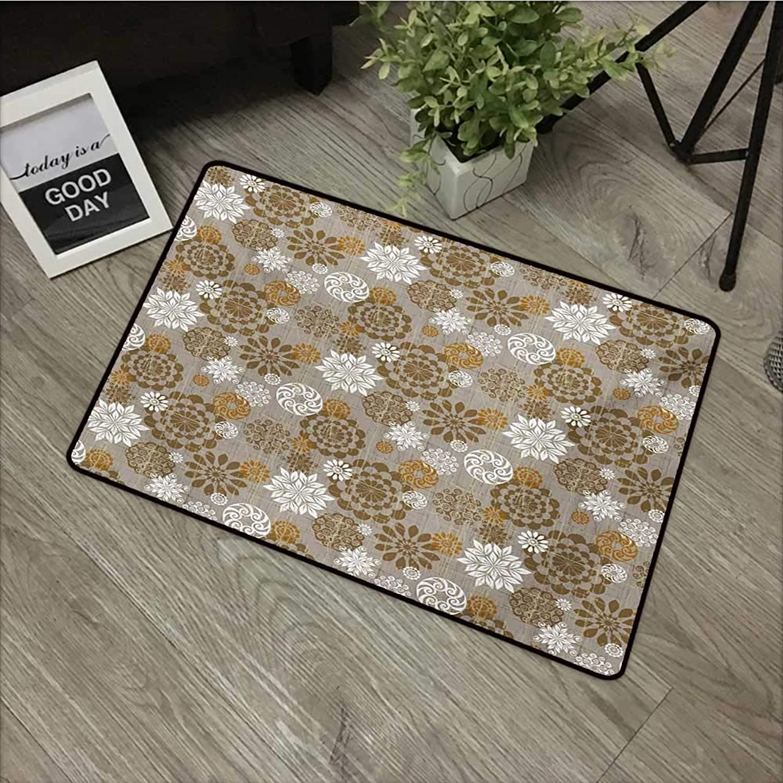 Door mat W31 x L47 INCH Floral,Ornamental Flower Design Combinations Styles Diagonal Pattern,Sepia Amber Grey Non-Slip Door Mat Carpet