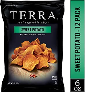TERRA Sweet Potato Chips, No Salt Added, 6 oz. (Pack of 12)