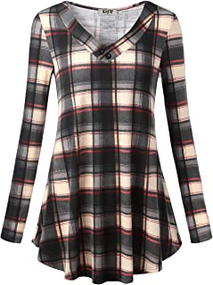 DJT Women's Long Sleeve V Neck A-Line Tunic Top Shirt Loose Fit Casual Blouse