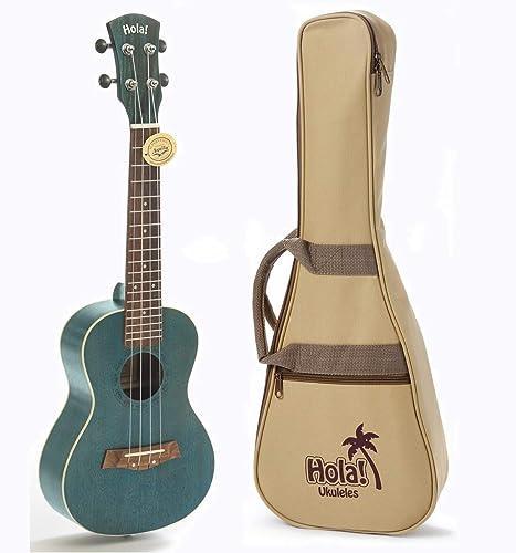 Concert Ukulele Bundle, Deluxe Series by Hola! Music (Model HM-124BU+), Bundle Includes: 24 Inch Mahogany Ukulele wit...