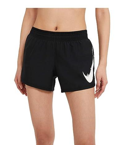 Nike Swoosh Run Shorts (Black/White) Women