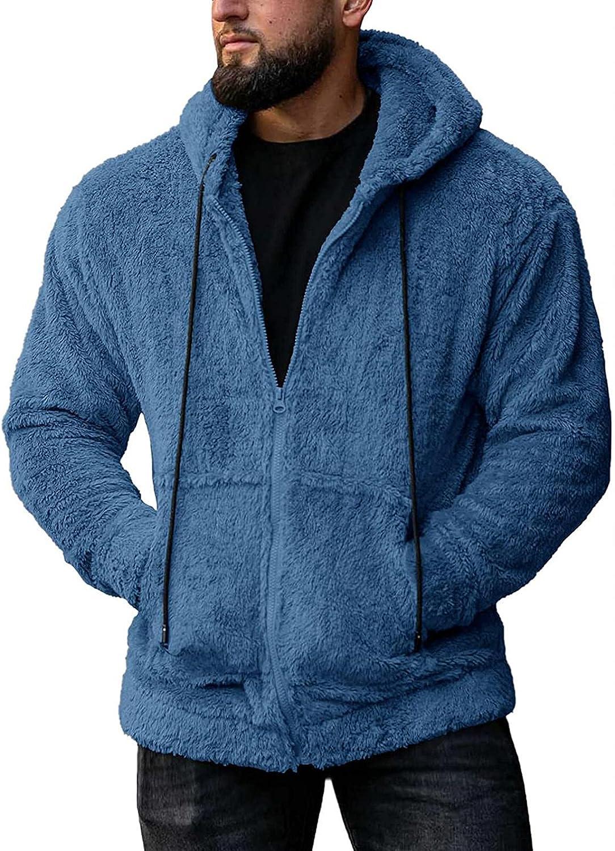 SUIQU Mens Fuzzy Sherpa Jacket with Hood Casual Winter Fleece Zip Long Sleeve Pockets Warm Pullover Outwear Coat Blouse