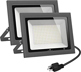 GLORIOUS-LITE 2 Pack 100W LED Flood Light Outdoor, 10000LM LED Work Light with Plug, 5000K Daylight White, IP66 Waterproof...