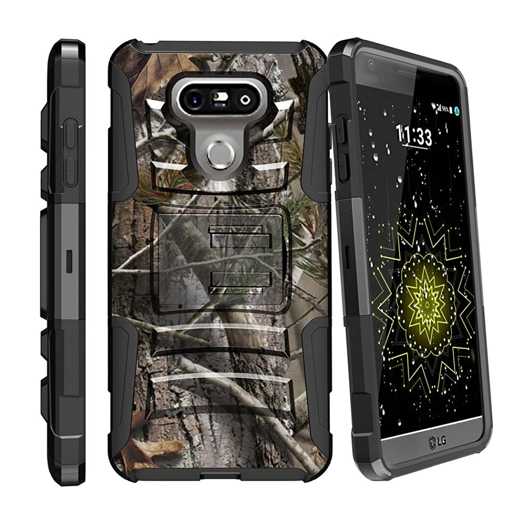 MINITURTLE Case Compatible w/ Hybrid Bumper Case for [LG G6 H870 | LG G6 2017] [Clip Armor] Rugged Hard Shell Case w/ Stand and Holster Hunters Camouflage