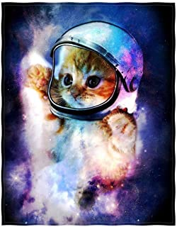 QH Galaxy Cat Printing Velvet Plush Throw Blanket Comfort Design Home Decoration Fleece Blanket Perfect for Couch Sofa or Travelling 58