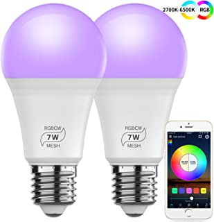 MagicConnect 60w Equivalent A19 7W White and Color Ambiance Bluetooth Mesh Smart Light Bulb - 2 Pack (Hub Optional for Compatible with Alexa Google Assistant)