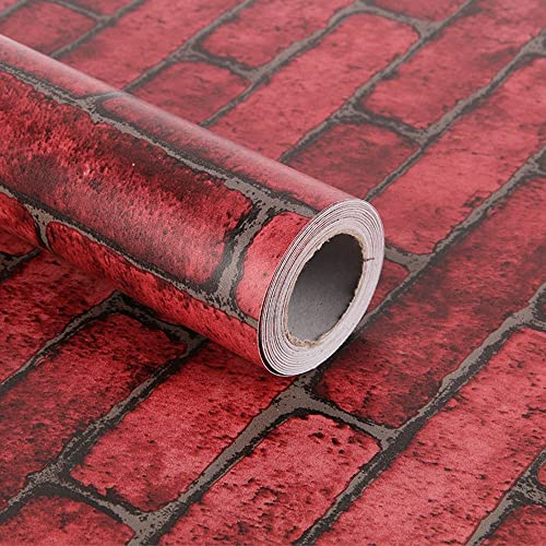 Yifely Red Brick Self Adhesive Shelf Drawer Liner Door Sticker Rural Contact Paper 17.7inch by