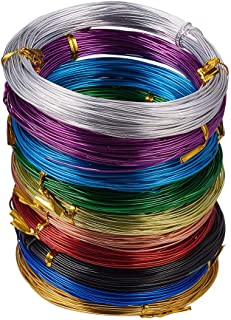 PandaHall Elite 10 Rolls Aluminum Craft Wire 18 Guage Flexible Artistic Floral Jewelry Beading Wire 10 Colors for DIY Jewelry Craft Making Each Roll 65 Feet