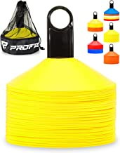 Pro Disc Cones (Set of 50) - Agility Soccer Cones with Carry Bag and Holder for Training, Football, Kids, Sports, Field Cone Markers - Includes Top 15 Drills eBook