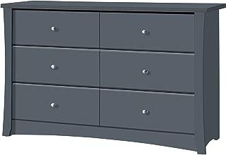 Storkcraft Crescent 6 Drawer Dresser, Grey, Kids Bedroom Dresser with 6 Drawers, Wood and Composite Construction, Ideal for Nursery Toddlers Room Kids Room