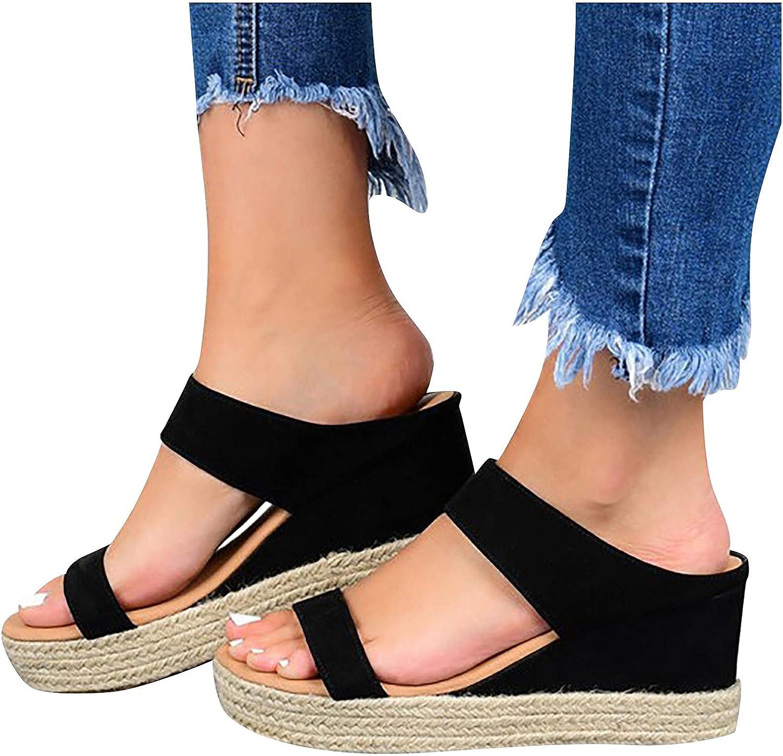 Summer Women's Wedge Heel Slides Bohemia Weave Wedges Sandals For Women Open Toe Sandals Beach Gladiator Sandals