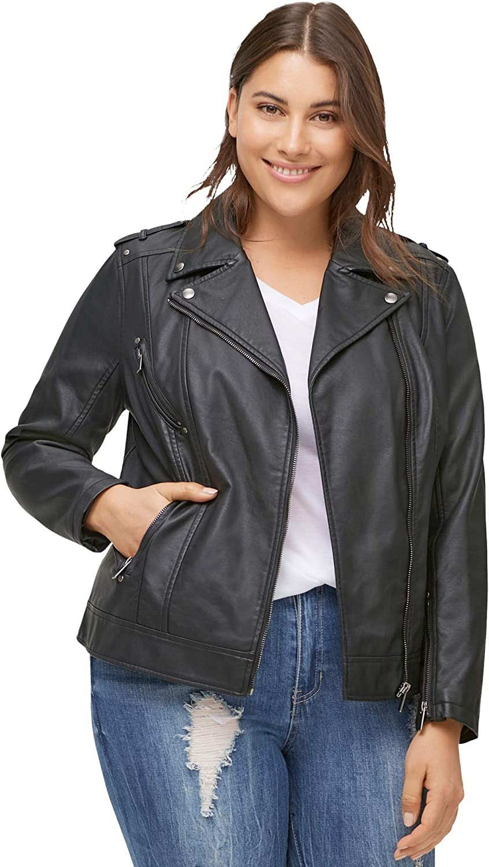 ellos Women's Plus Size Faux Leather Moto Jacket