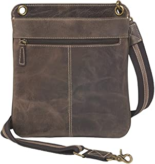 Concealed Carry Distress Buffalo Leather Crossbody Messenger Bag by GTM