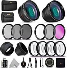 58MM Professional Lens Attachments & Filters Accessory Bundle Kit for Canon EOS Rebel T7 T7i T6i T6S T6 T5i T5 T3i SL3 SL2 SL1 EOS 80D 77D 70D 9000D 800D 760D 750D 7D DSLR Cameras, 22 Accessories