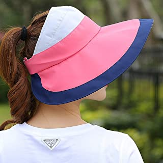 LPKH Sun Cap Collapsible Summer Casual Outdoor Sun Protection UV Protection Long Hat Eaves Empty Top Visor Cap hat (Color : Pink)